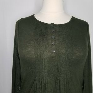 Style & Co Tops - Style&Co Olive Green Pintuck Long Sleeve Top